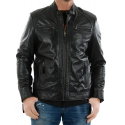 Black leather jacket AM-105 Gerome