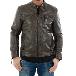 Veste en cuir marron AM-105 Gerome