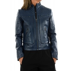 Blue leather jacket 10134 GEROME