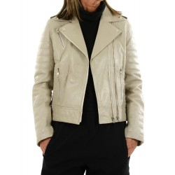 Beige leather jacket 10330 GEROME