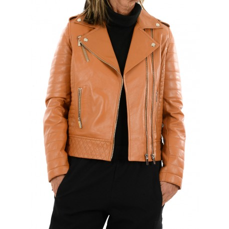 Cognac leather jacket 10330 GEROME
