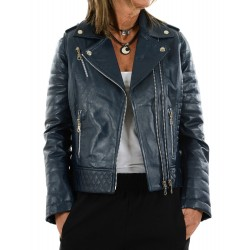 Blue leather jacket 10330 GEROME